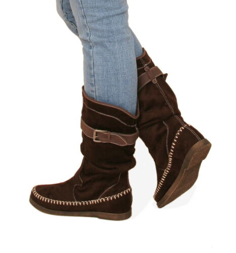Blue Banana New Suede Effect Stitch Detail Boots
