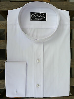 White Tunic Shirt in 100% Cotton – Double Cuffs and Placard Front