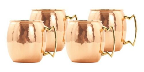 Old Dutch International Set of 4 24 Oz Solid Copper Moscow Mule Mug Hammered NEW