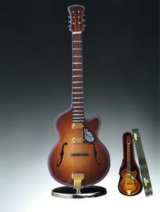 Music-Instrument-Miniature-7-034-F-Hole-Guitar-w-Cut-Away-Case-amp-Stand-GB18