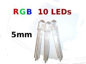 10Pcs-5mm-clear-lens-RGB-LED-Common-Cathode