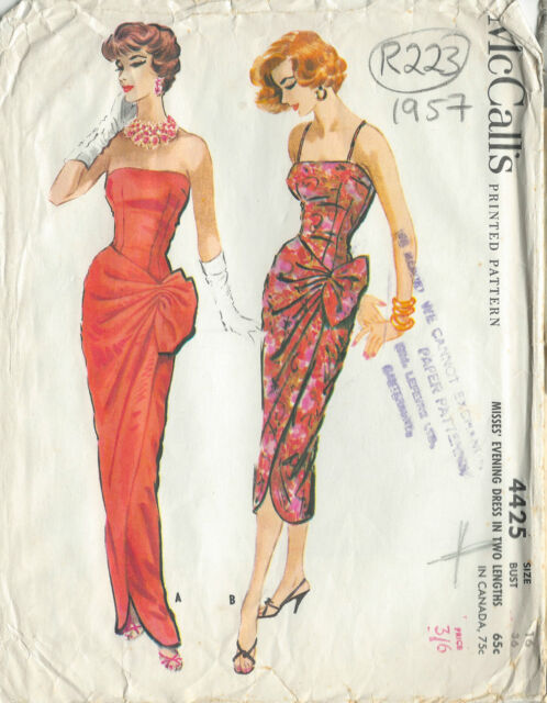 "1957 Vintage Sewing Pattern DRESS B36"" (R223)"