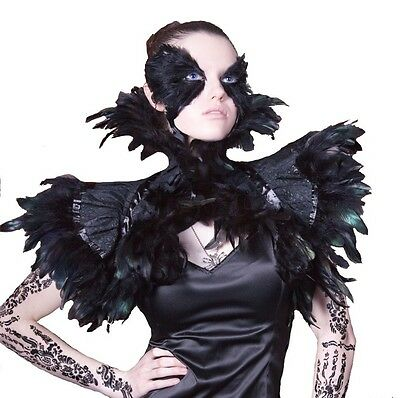 BLACK FEATHER EXOTICA BURLESQUE STEAMPUNK MALEFICENT GOTH COUTURE SHRUG COLLAR
