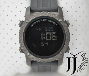 New-Authentic-Burberry-Men-Sport-Digital-Chronograph-Watch-Gray-Rubber-BU7715