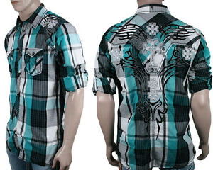 Roar men 39 s lineage black teal plaid embroidered button for Mens teal button down shirt