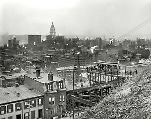 1915 cincinnati ohio city view photo antique home decor