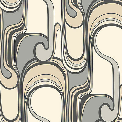 Wallpaper Mod Modern 1960's Curves Ahead Gray Brown Taupe Tan & Off White