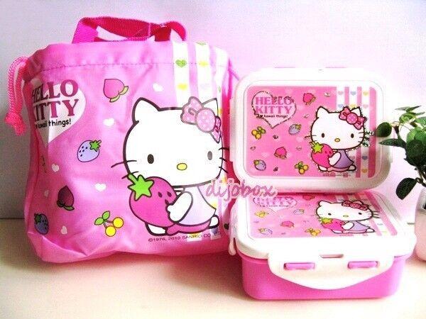 2 x 350ml Sanrio Hello Kitty Lunch Boxes Bento Food Container + Drawstring Bag