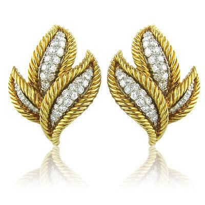 David Webb 18k Gold Platinum 1.75ct Diamond Earrings
