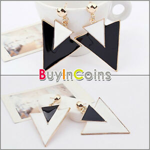 Women-Korea-Stylish-Black-White-Double-Triangle-Pattern-Hook-Earrings-HFAU