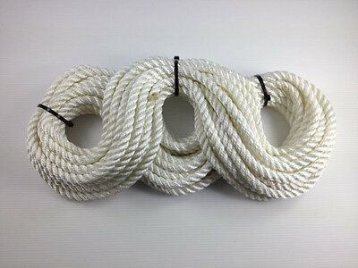 3 Strand White Polyester Rope 10mm - Mooring Fender Rope Anchor Marine Sailing