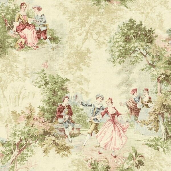 Wallpaper Designer French Toile Faux Tapestry Green Blue Red Pink on Cream