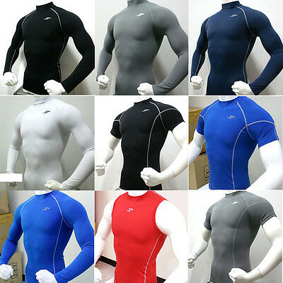 Mens Compression Under Base Layer Sports Wear Tops T-Shirts Tights Slim Fit