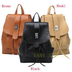 Vintage-Brown-Black-Khaki-Women-039-s-Leather-Backpack-Rucksack-Shoulders-Bag