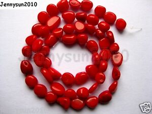 Red-Natural-Coral-Gemstone-8mm-x-10mm-Nugget-Loose-Spacer-Beads-16-Inches