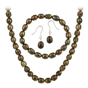 .925 Silver Freshwater Cultured Brown Pearl Set