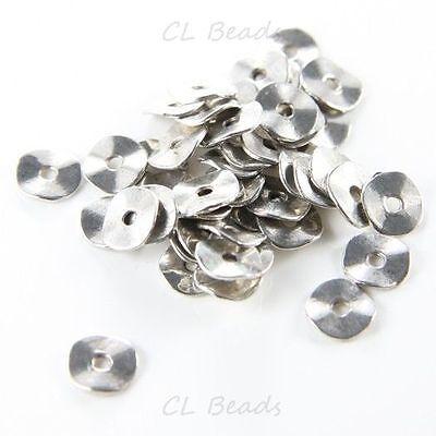 60pcs Oxidized Silver Tone Base Metal Waved Disks-9.5mm (9350Y-G-47A)