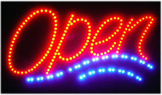 Bright LED Light ANIMATED OPEN Neon Store business SIGN Shop Cafe Bar Pub 19x10
