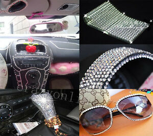 2016pcs auto car bling crystals diamonds interior exterior silvery stickers. Black Bedroom Furniture Sets. Home Design Ideas