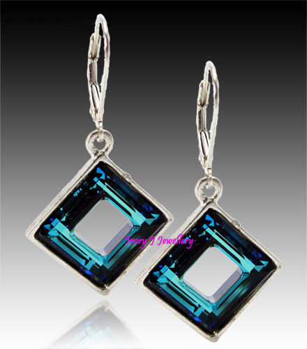 BERMUDA BLUE! Swarovski Crystal Faceted Square Ring Earrings 925 Silver Plated