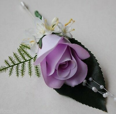 WEDDING FLOWER BRIDAL GROOM LAVENDER PURPLE ROSE ROSES GYP BUTTON HOLE FLOWERS