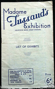 Madame-TUSSAUD-Exhibition-List-Of-Exhibits-1945-Wax-Model-Booklet-Baker-St