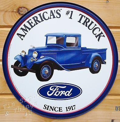 1917 Blue Antique Ford Truck ROUND TIN SIGN metal vtg wall decor bar garage 1009