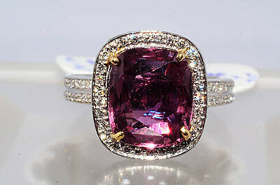 $28,550 6.56Ct AGL Certified Brown-Pink Sapphire & Diamond Ring Platinum & Gold