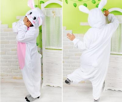 Adult Easter Bunny Costume White Rabbit pajamas /pyjamas/onesie romper fleece