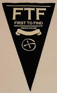 Black-Geocache-First-to-find-felt-pennant-Geocaching