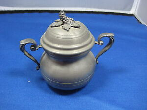 Antique-Made-in-Germany-Pewter-Container-w-Handles-Lid-Embossed-Engraved