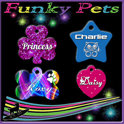 Funky Pet ID Tag Dog Kitten Puppy Cat Name Tags Personalised Pink Customised