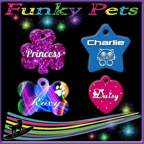 Funky Pet ID Tag Dog Kitten Puppy Cat Name Tags Personalised Customised NameTag
