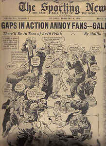 The-Sporting-News-2-8-1956-Baseball-magazine-Gaps-in-Action-Annoy-Fans-Gallagher