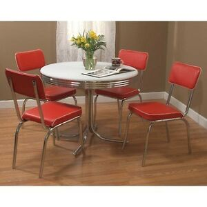 retro 5 piece dining set round chrome kitchen table 4 red padded vinyl chairs ebay. Black Bedroom Furniture Sets. Home Design Ideas