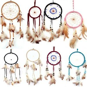 NEW-Large-Handmade-Dreamcatcher-Dark-brown-Beige-Red-White-With-Beads-Free-Ship