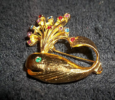 """Goldtone and Multicolor Crystal Whale Pin Brooch 11/4"""" X 11/2"""""""