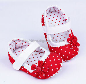 Red Mary Jane Infant Baby Girl Polka Dot Soft Sole Shoes Newborn ...
