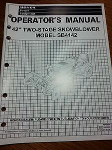Honda-SB4142-42-034-Two-Stage-Snowblower-Operator-039-s-Manual