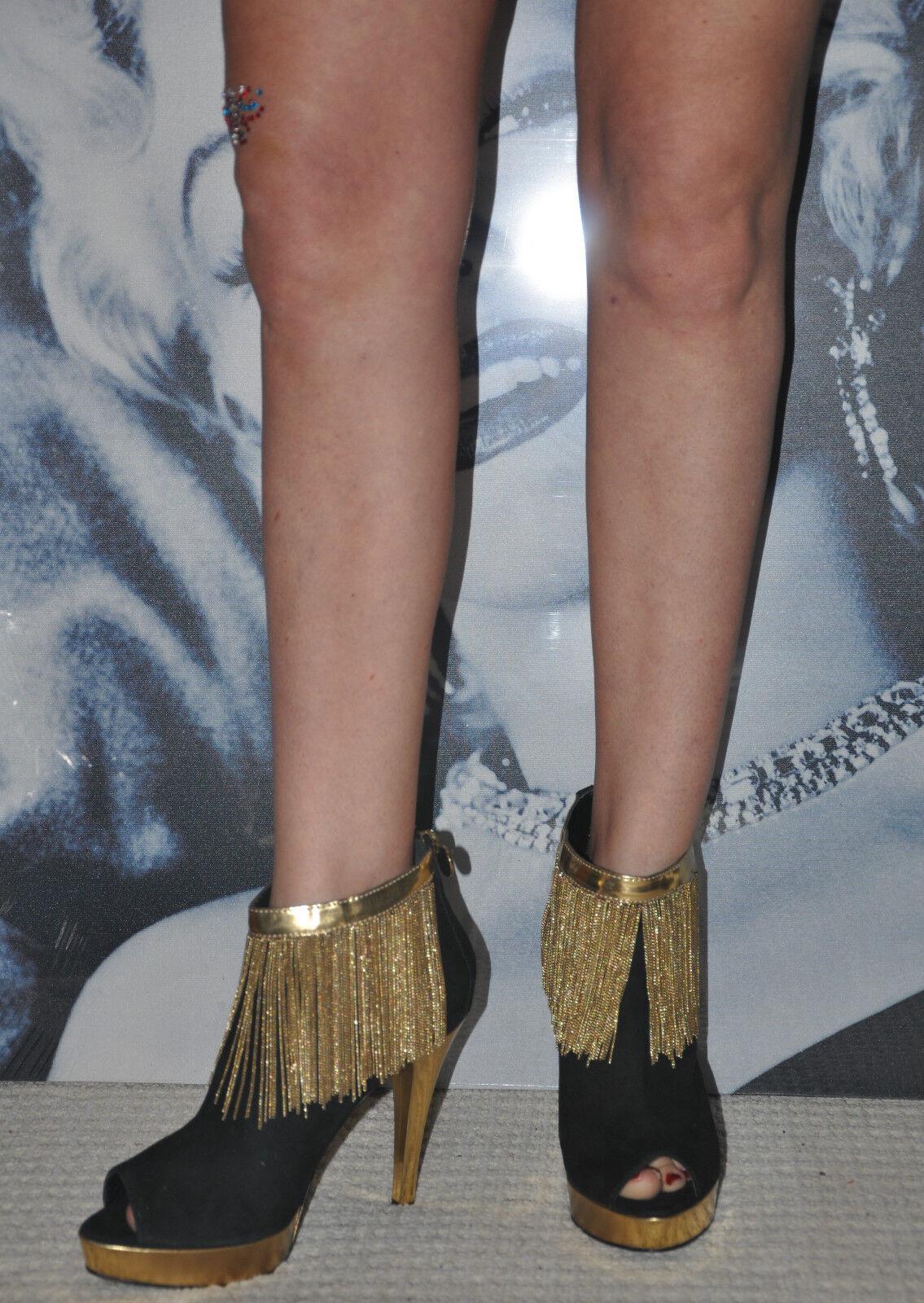 Partito Miss Sixty neri in pelle scamosciata sexy oro plateau boots & CATENE D'ORO 7 EU 40