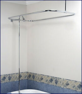 Clawfoot tub shower diverter faucet curtain rod combo ebay for Clawfoot tub and shower combo