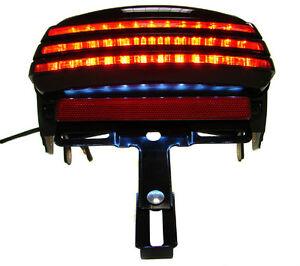 Smoke Tri Bar Fender Led Tail Brake Light For Harley Dyna