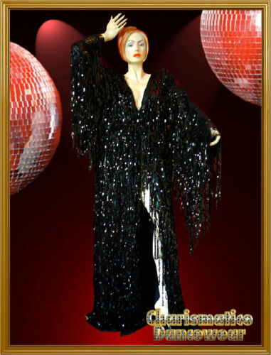 CHARISMATICO BLACK SPARKLING SEQUIN Shiny Fringe DRAG QUEEN COVER-UP GOWN