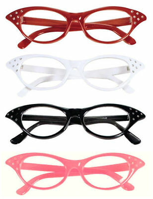 50s pink black red white fancy dress glasses fly away grease ladies girls