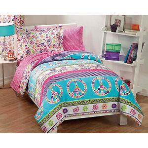Girls Bed In A Bag Comforter Set Pink Blue Aqua Peace Sign