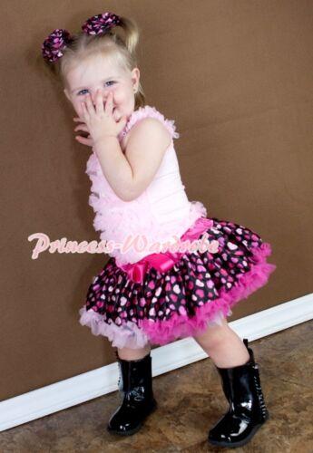 Pinks Hearts Pettiskirt Skirt Tutu Pink Ruffles top Set For Newborn Baby 3-12M