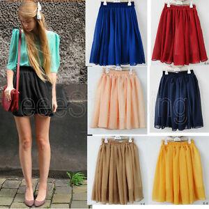 Womens-Retro-High-Waist-Pleated-Double-Layer-Chiffon-Short-Mini-Skirts-Dress-Hot