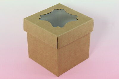 25x, Bakery Cupcake Holder Gift Box Boxes with insert & window, Kraft, 4x4x4