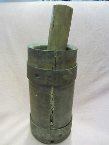 EARLY-Antique-Wooden-MORTAR-and-PESTLE-WROUGHT-Iron-Bands-on-Mortar-Great-Patina