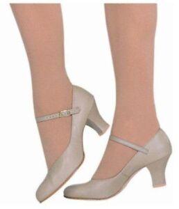 Capezio-650-Footlight-Character-Shoe-2in-Heel-TAN-NEW